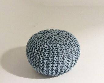 Handmade Knitted Pouf | Blue Tint | 50x35cm | Hand Knit Pouf Ottoman Footstool