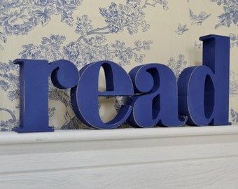 READ Wooden Letters – 3D Letters – Wooden Letters for Home and Reading Room –  Hand Painted Thick MDF letters