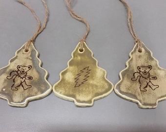 Ceramic Grateful Dead Ornaments- Set of 3