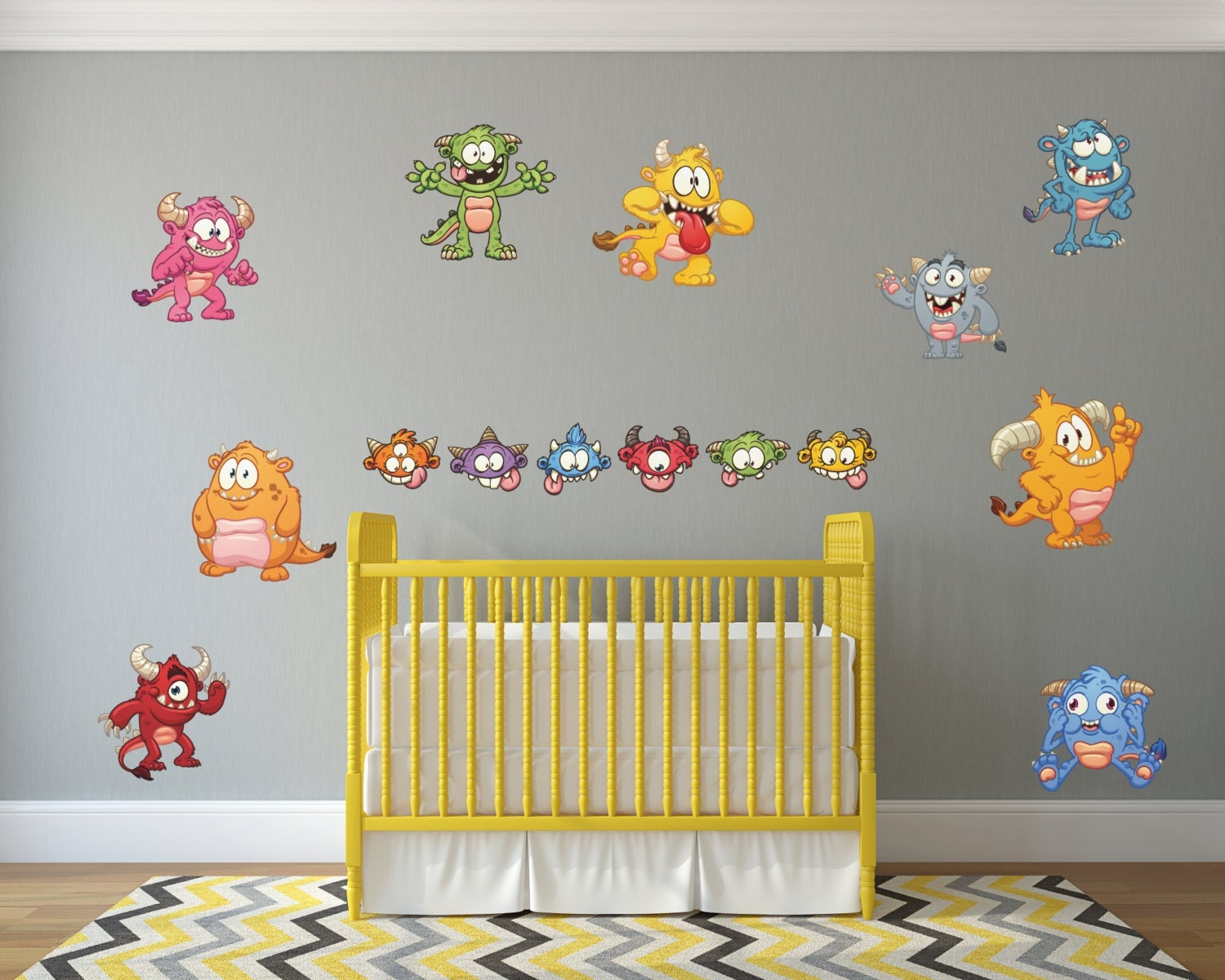 Cartoon Monster Wall Decals // Kids Monsters Wall Stickers ...