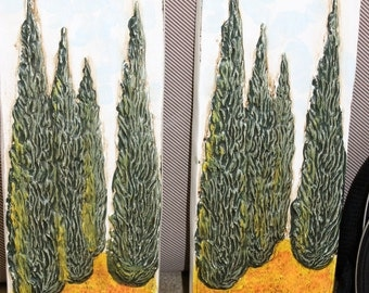 Made in Italy Ceramic Cypress Wall Hangings Signed