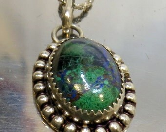 Vintage Sterling Silver and Azurite Malakite Lapis Oval Pendant