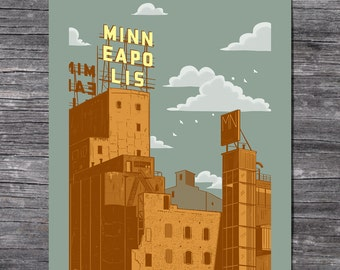 Minneapolis Gold Screen Printed Poster