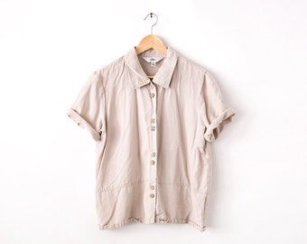 Vintage 90s Cream Short Sleeve Tencel Environmentally Friendly Regenerated Double Button Down Collared Shirt Blouse L