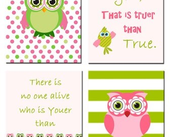 Dr Seuss Green and Pink Nursery decor Owl print - Today you are you, that is truer than true.There is no one alive that is youer than you.!