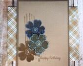 Handmade Happy Birthday Greeting Card, For Man, Boy, Boyfriend, Father, Scrapbook Paper, Plaid Shirt, Flowers, Masculine