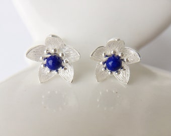 Lapis Bead Flower Earrings Sterling Silver Flower Blue Stone Stud Earrings Dainty Small Flower Design Gift for her