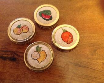 Cross stitched fruit set