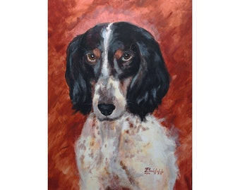 """CUSTOM pet portrait on canvas (LARGE size 20x28"""") - ONE pet -  with love to animals =) - N-Mc-L"""