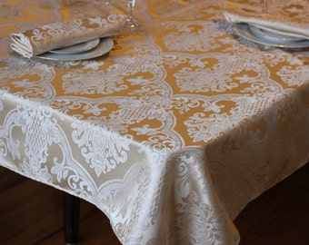 "Table Cloth in medallion print, Custom made to your size, Available in all sizes, Up to 108"" wide,"