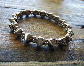 Silver Crystal Jeweled Stud Spike Bracelet