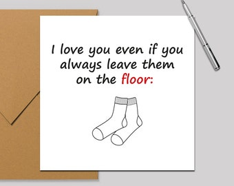 Valentines Card/Anniversary Card for Him, Boyfriend, Husband - Socks on the floor. Square Card 140x140mm