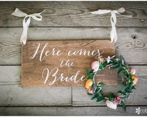 Here comes the Bride Sign, Ringer Bearer, Flower Girl - Wooden Wedding Signs - Wood