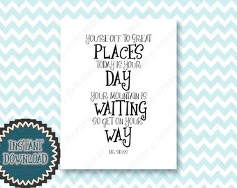Motivational Graduation Gift Your Off To Great Places Dr Seuss Quote Young Adult's Room Dorm Room School Counselors Office Decoration 1953BD