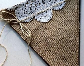 Burlap Banner DIY Kit Burlap Pendants Natural Jute Burlap Fabric Pennants Banner Kit Burlap Bunting Kit Garland DIY Banner Kit Party Bunting