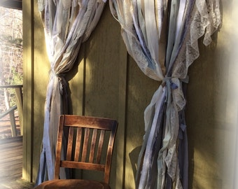BEST PRICES & Quality Handmade Shabby Chic French Country All Natural Greys Tans Whites Lace Mix For Shower Curtains Windows Backdrops Etc.