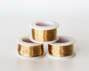 1626_Gilt jewelry wire 28 gauge, Gold wire 0.3mm, Golden wire reel, Copper wire, Wire wrap, Gilt craft wire, Thin wire, Wrapping wire_55 m.