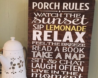 "Custom painted wooden sign ""Porch Rules"" 11"" x 15"""