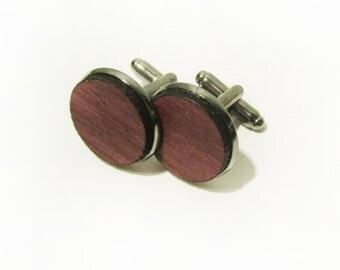Purple Heart Wood Cuff Link Pair (2) - Handmade Wooden Cuff Link