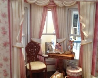 1:12 scale Dollhouse Curtains - Bay Window