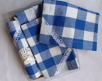 "Linen Napkins Set of 6, 15""x15"" Natural  Linen ,in a blue cage ."