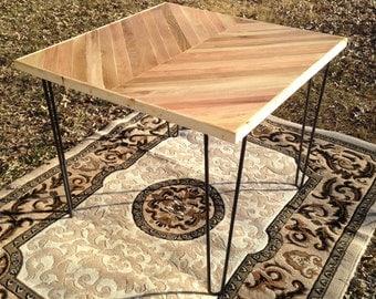 Handmade Reclaimed Oak Chevron Dining Table with Hairpin legs, hairpin legs, dining table, reclaimed