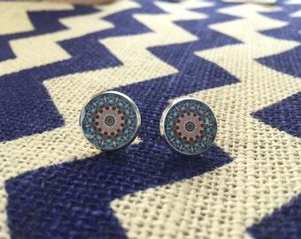 Intricate Blue Mandala Stud Earrings