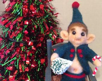 Christmas Elf,  OOAK, Needle Felted Elf, Fiber Artist Collectible, Christmas gift idea.