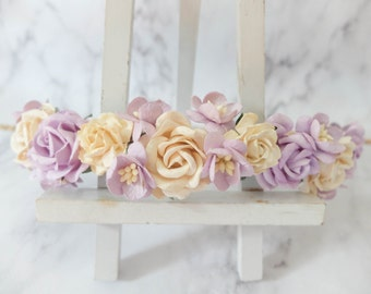 Ivory and lilac purple flower crown - wedding floral hair wreath - flower headpiece - flower hair accessories for girls