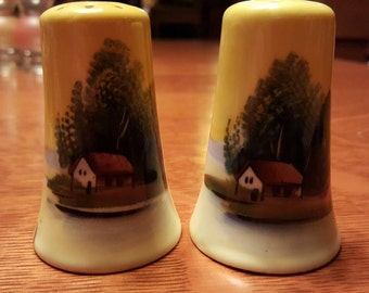 Vintage salt and pepper shakers. Cabin in the woods - Free Shipping