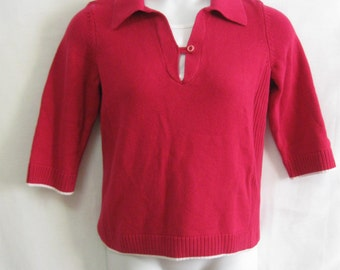 Vintage Misses S Christopher & Banks Dark Pink Raspberry 3/4 Sleeve Sweater with White Trim  Darling Misses Small