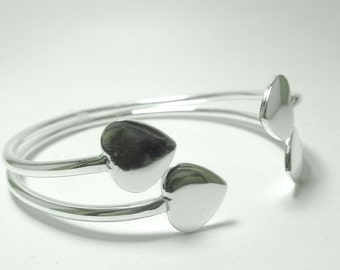 Sterling Silver Cuff with Heart Accents