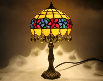 Stained glass lamp Tiffany table lamp Decorative lampshade Flower ornament