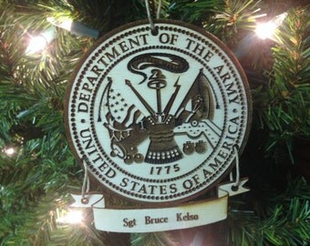 United States Army Personalized Christmas Ornament