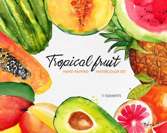 Tropical fruits set, handmade watercolor illustration. Smoothies, yummies, cooking, wall illustration. Digital download High res