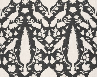 SCHUMACHER CHENONCEAU FRENCH Toile Linen Fabric 10 yards Charcoal