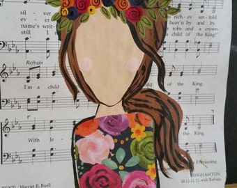 Book Page Art, Sheet Music Painting, Floral Crown,  Mixed Media Painting, Floral Print, Nursery Decor, Christian Gift,  Gift for Her, Flower