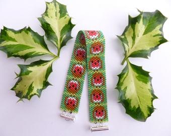 Robin bracelet, Bird bracelet, Peyote bracelet, English robins, FREE UK shipping