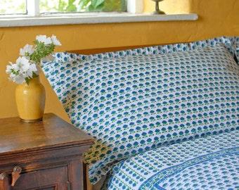 Blue Butti / Pink Butti Pillowcases Hand Block Printed on Organic Cotton