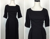 SALE, 20% OFF Vintage 1950s LBD black  wiggle Pinup Party cocktail wedding prom Dress 50s Formal Wiggle Dress Skirt M983
