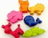 Animal Crayons | Set of 6 | Elephant | Giraffe | Whale | Tiger | Lion | Crocodile | Birthday Gift | Jungle Party | Party Favours | Children