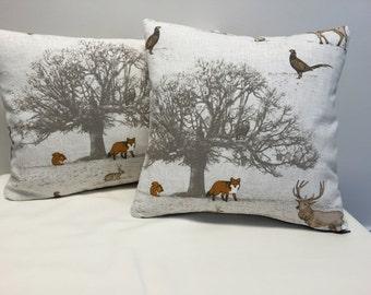Woodland Cushion, Stag, Fox, Cushion, Woodland Design Cushion, Stag Cushion
