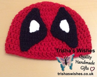 Deadpool Inspired  Beanie >> Handmade >> Crocheted >> Character Hat >> Winter Hat >> Fun Beanie