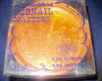 Lustro-ware Hobnail Coasters, Orange, 1960's