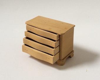 Vintage Dollhouse Miniature Unfinished Wood Dresser, Four Working Drawers, Missing Hardware