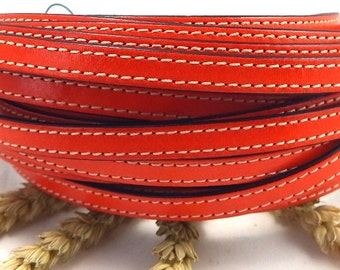 Orange flat leather high quality 0,4 by 7,9 inches