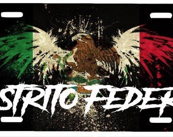 "Distrito Federal Mexico Aluminum License Plate Placa  6""' x 12"""