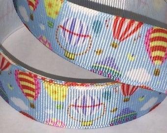 1 inch Hot Air Ballon on  Blue  Sky  -  Printed Grosgrain Ribbon for Hair Bow