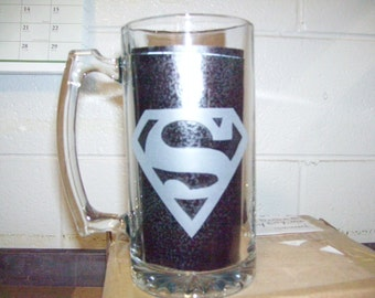 supermanlogo etched  beer mug