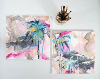 original abstract landscape painting, small palm tree painting pink and teal landscape